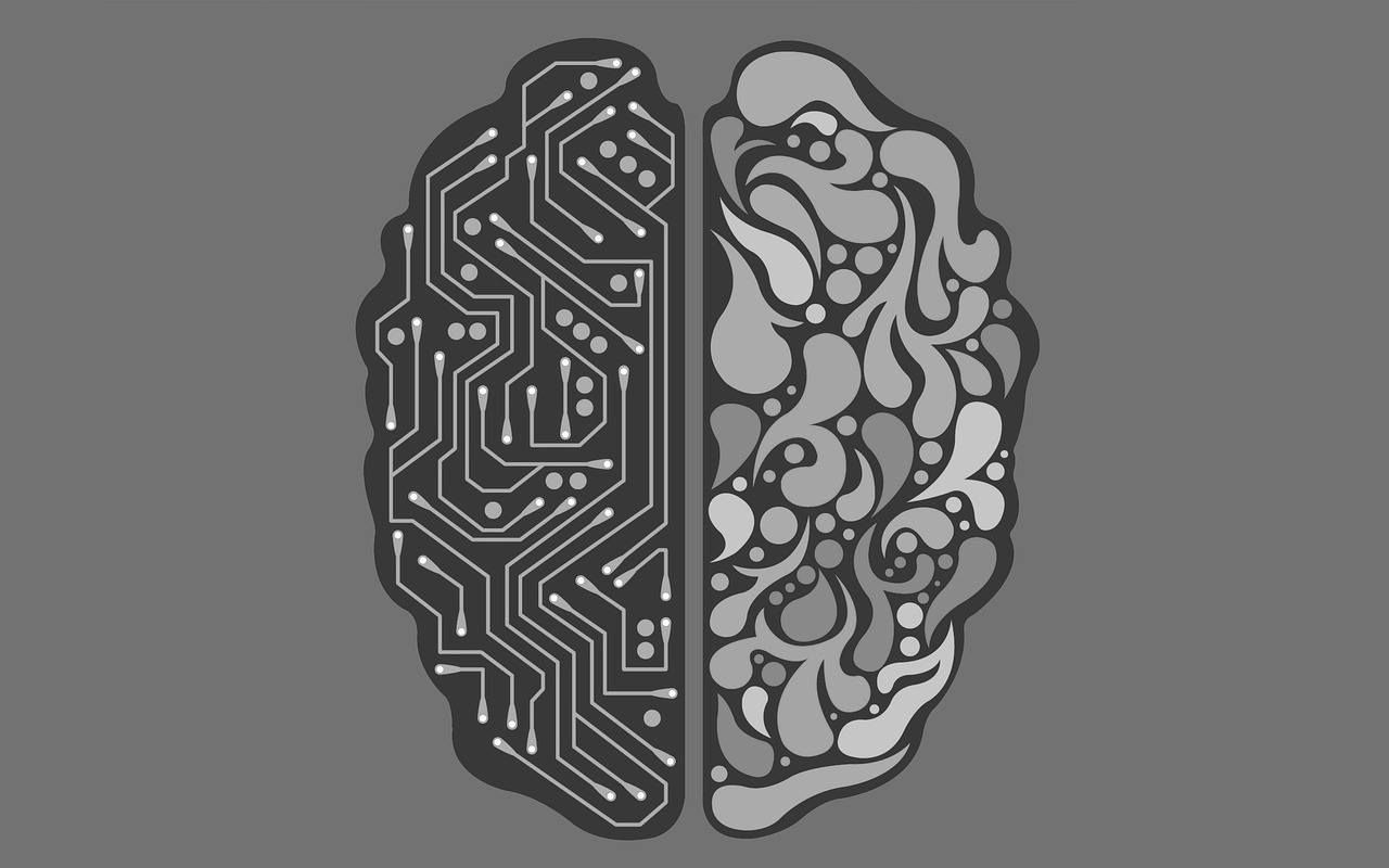 cheezy AI stock image for visual interest. Brain on one side, circuit on the other