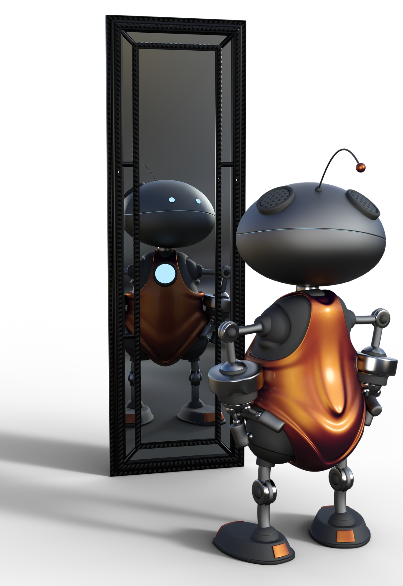 image of a robot looking at itself in a mirror